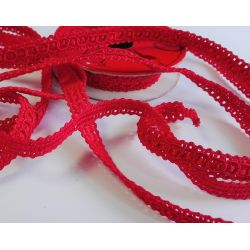RUBAN Rouge 10 mm Petits Carrés 2 Mètres