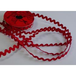 RUBAN Rouge 8 mm Serpentine 2 Mètres
