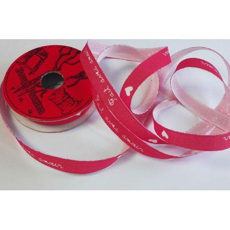RUBAN Rose Clair 10 mm Coeurs ... Fait avec Tendresse 2 Mètres