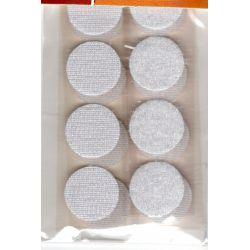 8 Pastilles Accrochantes Adhésives Autocollantes 19 mm Coloris Blanc