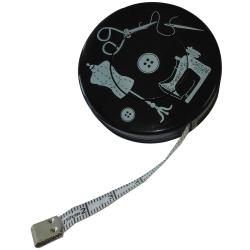 Mètre Ruban de Couturière Mannequin Couture Ciseaux Coloris Noir 150 cm