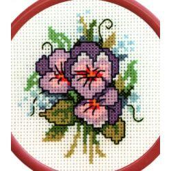 Petit Kit à broder point de croix comptés Fleurs Pensées 10 x 10 cm environ