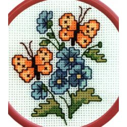 Petit Kit à broder point de croix comptés Fleurs et Papillons 10 x 10 cm environ