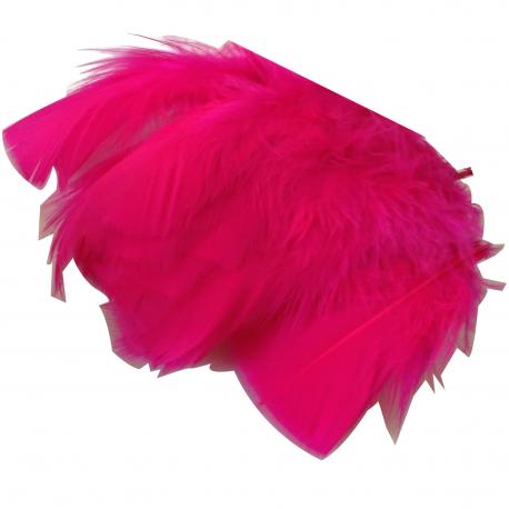 Environ 25 PLUMES Coloris ROSE FUSCHIA deco fête mariage