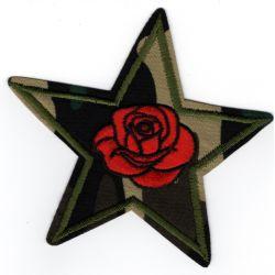 Ecusson Thermocollant Etoile Militaire Kaki Fleur Rose 8,50 x 9 cm