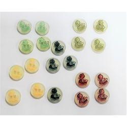20 Boutons Canard Caneton 15 mm 5 coloris différents Plastique
