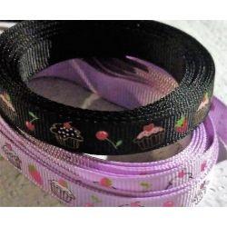 6 mètres Ruban Gros Grain Simple Face CUPCAKES DE NOEL 10 mm coloris noir et violet