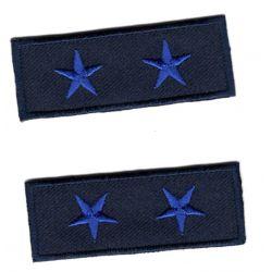 Ecusson Thermocollant 2 x Petit Galon Etoile Coloris Bleu 2 x 5,50 cm militaire