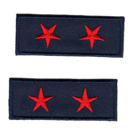 Ecusson Thermocollant 2 x Petit Galon Etoile Coloris Rouge 2 x 5,50 cm militaire