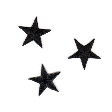 Ecusson Thermocollant 3 Petites ETOILES Coloris Noir 3 x 3 cm