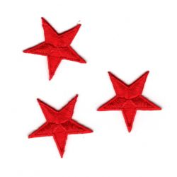 Iron-on Sticky Patch 3 Small STARS Color Red 3 x 3 cm