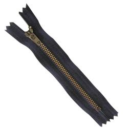 FERMETURE eclair 10 cm Coloris MARINE pour pantalon jeans maille métal 5 mm