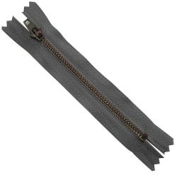 FERMETURE eclair 10 cm Coloris GRIS pour pantalon jeans maille métal 5 mm