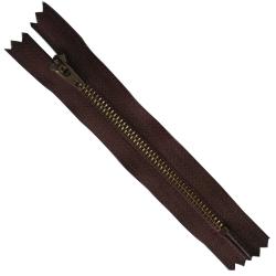 FERMETURE eclair 10 cm Coloris MARRON pour pantalon jeans maille métal 5 mm