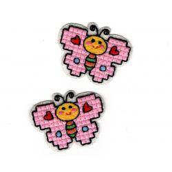 Patch Ecusson Thermocollant 2 x Petit Papillon Petites Croix 3 x 4 cm