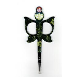 Ciseaux Poupée Russe Matriochka Broderie Coloris Noir Couture Point de Croix 11 cm