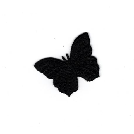 Ecusson Thermocollant Petit Papillon Coloris Noir 3 x 3,50 cm