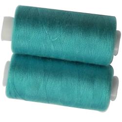 2 Bobines 500 mètres Polyester Coloris Turquoise Fil à Coudre