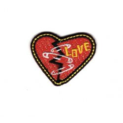 Patch Ecusson Thermocollant Cœur Love Rock Attitude Brillant 3 x 4 cm