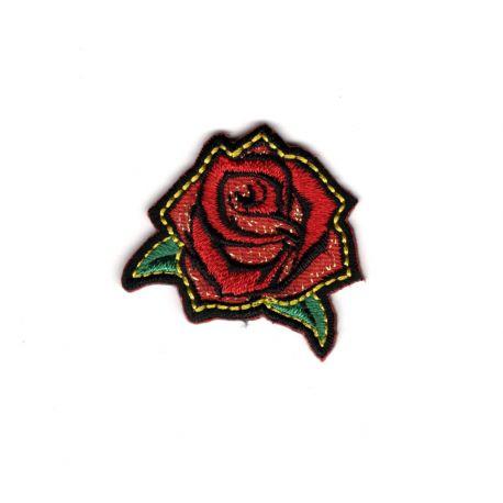 Patch Ecusson Thermocollant Petite Rose Rock Attitude Brillant 3 x 3 cm