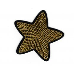 Patch Ecusson Thermocollant Etoile Broderie Fil Or 5 x 5 cm