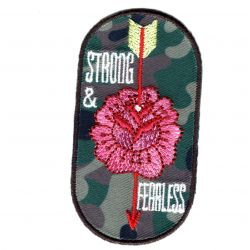 Patch Ecusson Thermocollant Fleur Strong and Fearless Camouflage Militaire 3,50 x 7 cm