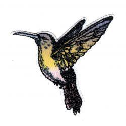Patch Ecusson Thermocollant Colibri Oiseau Mouche Vintage Paillettes 6 x 6 cm