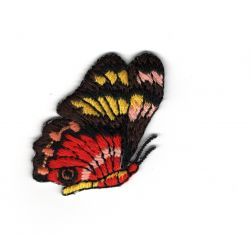 Patch Ecusson Thermocollant Papillon Coloris Rouge et Marron 3 x 5 cm