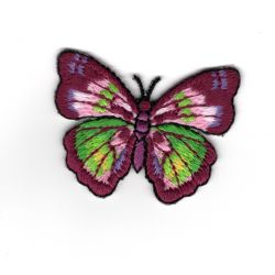 Patch Ecusson Thermocollant Papillon Coloris Violet et Vert 4 x 5 cm