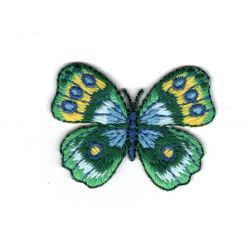 Patch Ecusson Thermocollant Papillon Coloris Vert et Bleu 3,50 x 5 cm