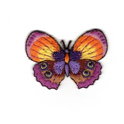 Patch Ecusson Thermocollant Papillon Coloris Violet et Orange 3,50 x 5 cm