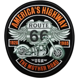 Patch Ecusson Thermocollant XXL America's Highway Moto USA Route 66 23 x 25 cm