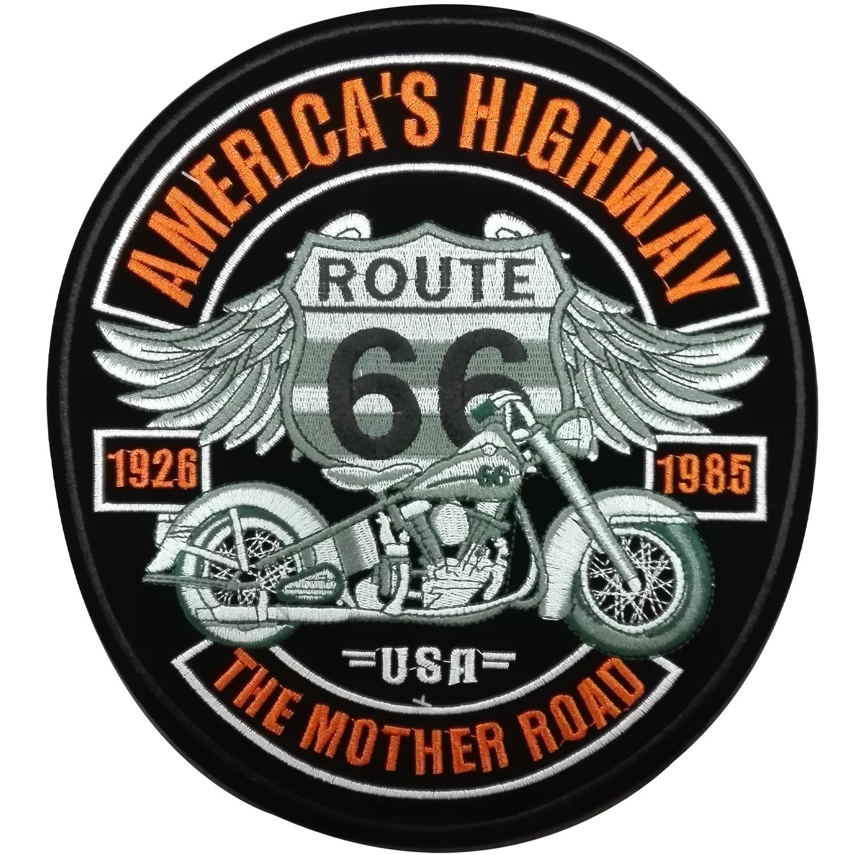 topt mili ecusson Route 66 Biker Motard Moto Tete de Mort as Croix hermocollant 9cm patche Badge