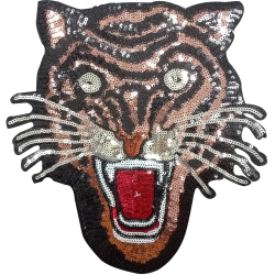 Patch Ecusson Thermocollant XXL Tête de Tigre Paillettes Sequins 23 x 23 cm