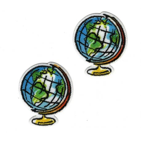 Patch Ecusson Thermocollant 2 x Globe Terrestre 3 x 3,50 cm