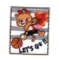 Patch Ecusson Thermocollant Tigre Joueur de Basket 5 x 6 cm