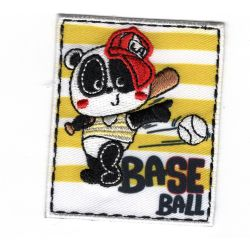 Patch Ecusson Thermocollant Panda Joueur de Base Ball 5 x 6 cm