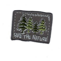 Patch Ecusson Thermocollant Save the Nature Forest Sapin 3,50 x 4,50 cm