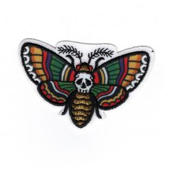 Patch Ecusson Thermocollant Papillon TETE de Mort Inca 3,50 x 5,50 cm