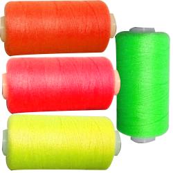 4 Bobines 500 mètres Polyester Coloris FLUO Jaune Vert Rose Orange Fil à coudre