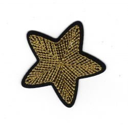Patch Ecusson Thermocollant Etoile Broderie Fil Or 4,50 x 4,50 cm