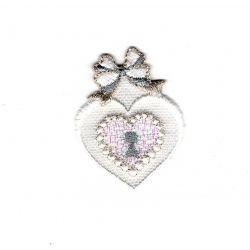 Patch Ecusson Thermocollant Cœur Mariage Dentelle 3 x 4 cm