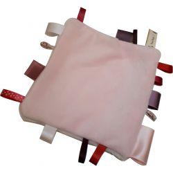 Kit DOUDOU ETIQUETTE Coloris ROSE 20 cm avec Rubans et Tissu Peluche Tout doux Pour BEBE