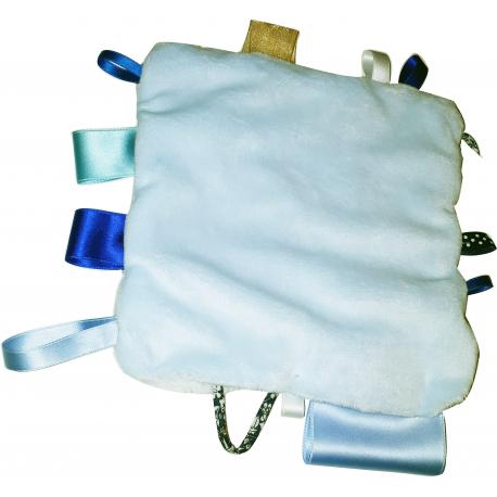 kit doudou etiquette coloris bleu 20 cm avec rubans et. Black Bedroom Furniture Sets. Home Design Ideas