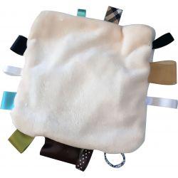 Kit DOUDOU ETIQUETTE Coloris ECRU 20 cm avec Rubans et Tissu Peluche Tout doux Pour BEBE à faire soi-même