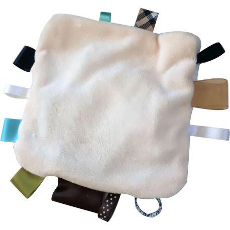 kit doudou etiquette coloris ecru 20 cm avec rubans et. Black Bedroom Furniture Sets. Home Design Ideas