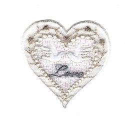 Patch Ecusson Thermocollant Cœur Love Colombe Dentelle Mariage 5 x 5 cm