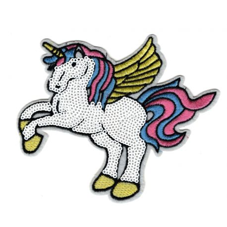 Patch Ecusson Thermocollant Licorne Arc en Ciel Ailes Sequins 11 x 12 cm
