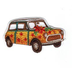 Patch Ecusson Thermocollant Voiture Mini Hippies 3,50 x 6 cm