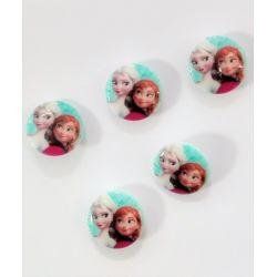 5 Boutons Reine des Neiges Elsa et Anna 18 mm en Résine